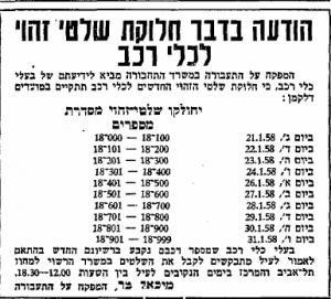 לא להידחף, לקחת מספר. חלוקת מספרים חדשים, ינואר 1958